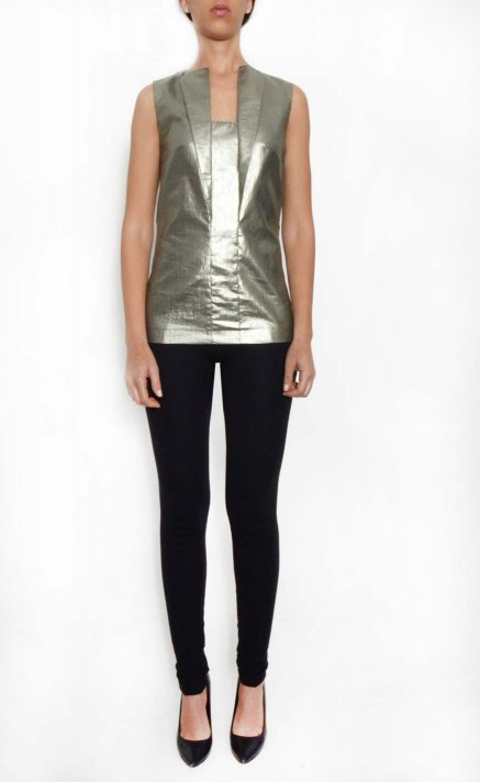 Lapels top, silver effect
